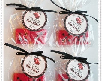 Bunco Night Las Vegas Pair A Dice Lucky in Love A Perfect Pair Gambling Party Favors Handmade Soap (20 complete favors with tags-40 soaps)
