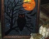 Reserve Listing for Jennifer - Painted Halloween Black OWL on Glass - REVERSE PAINTED - Halloween Decoration