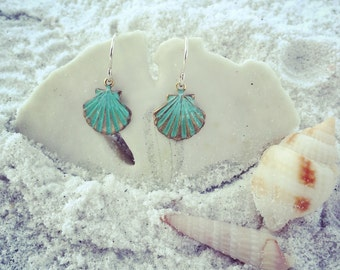 Verdigris Sea Shell Earrings