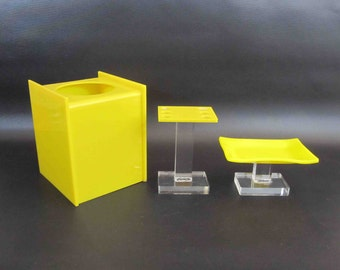 Vintage Mid Century Bathroom Set in Yellow and Clear Lucite. Circa 1960's. Tissue Box, Toothbrush Holder, Soap Dish.