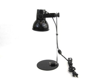 Vintage Adjustable Desk Lamp in Black Finish with Chrome Arm. Circa 1970's.