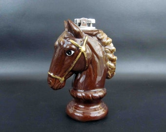 Vintage Ceramic Horse Head Table Lighter. Made in Japan. Circa 1950's.