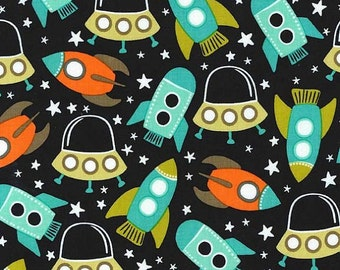 Michael Miller Fabric Space Stations Ships Retro