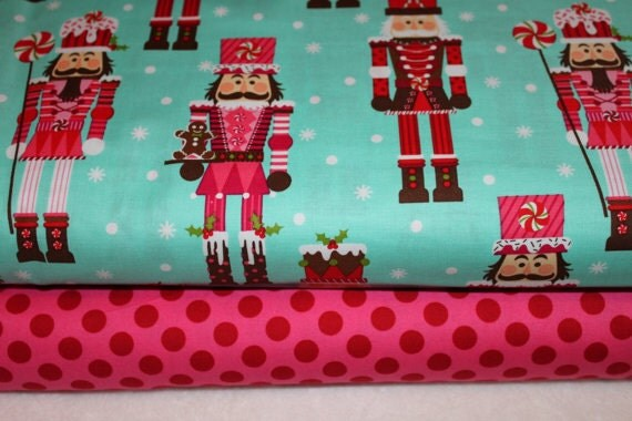 Fabric Duo Nutcracker Aqua Ta Dot Pink Michael Miller Christmas