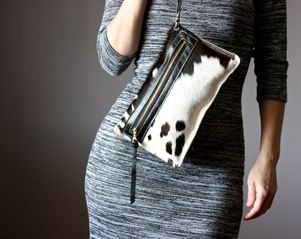 Black and White leather clutch,  leather bag, hair on hide clutch, cowhide clutch , fur clutch, awesome clutch