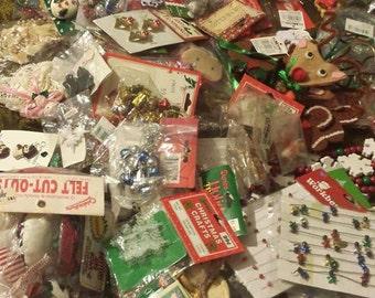 Christmas Large lot 2 vintage Holiday  mini ornaments garland figures trim a tree santas workshop destash craft items