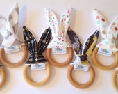 GIRL |  Natural Bunny Teething Ring | You PICK the FABRIC | Natural Teething | Maple Ring