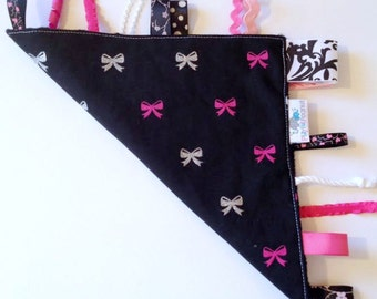 Tag Rag | Lovey | Tags | Sensory Blanket | Bows on Black