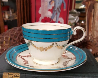 Vintage Teal, Cream and Gold Aynsley Fine Bone China Cup and Saucer from Rustysecrets