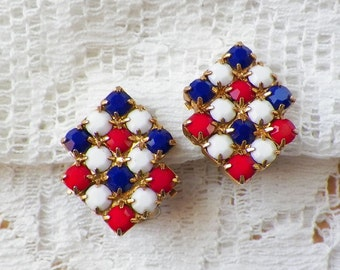 Vintage Red, White, Blue Faceted Opaque Glass Clip On Earrings, Gold Tone Metal, Patriotic, Square / Squares / Geometric