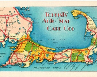 Vintage Cape Cod Postcard - Tourists' Auto Map of Cape Cod (Unused)