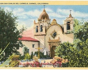 Vintage California Postcard - Mission San Carlos Borromeo de Carmelo (Unused)