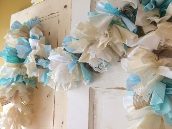 burlap and blue baby shower party decoration 6 10 foot fabric garland