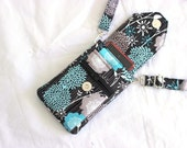 Cell phone bag - cell phone purse - cell phone pouch - mobile phone bag - small crossbody bag - small side bag - black aqua MADE to ORDER