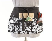 Vendor apron - Waitress apron - Teacher Apron - half apron with zipper pocket - adjustable waist strap Black and White Scroll utility apron