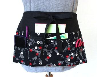 Vendor apron - Waitress apron - Teacher Apron - black half apron with zipper pocket - adjustable waist strap - utility apron - work apron