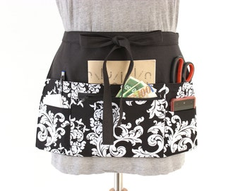 Vendor apron - Waitress apron - Teacher Apron - half apron with zipper pocket - adjustable waist strap Black and White Scroll utility apron