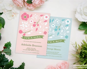 Floral Top Baby Shower Invitation