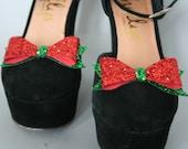 Christmas Glitter shoe clips - fun shoe accessories - glitter bows - shoe accessory - christmas shoes