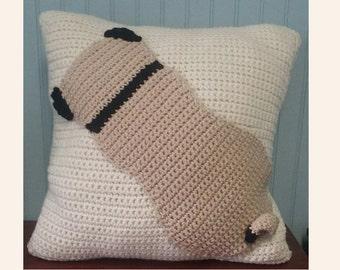 Pug Pillow Crochet, Pug Pattern, Pug Lover Crochet, Downloadable