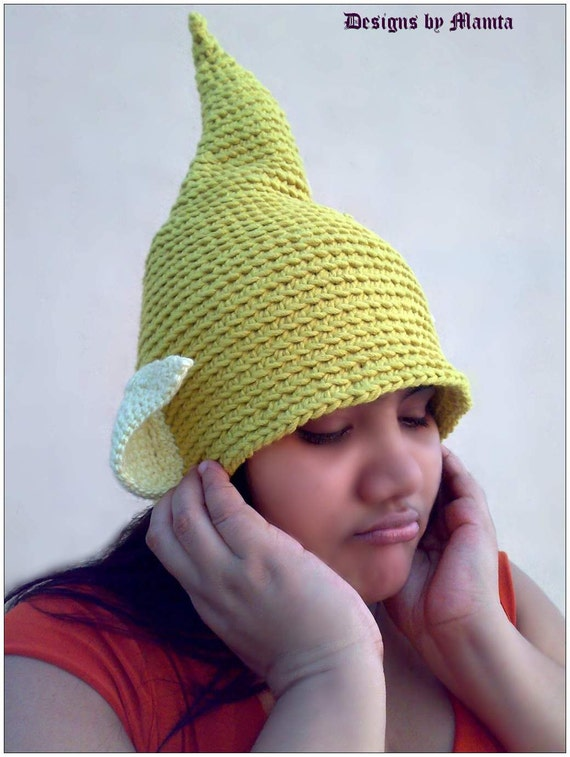Free Crochet Pattern For Tinkerbell Hat : Tinkerbell Fairy Hat Crochet Pattern, Elf Gnome Hat With ...