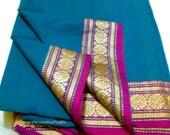 Indian Ilkal Sari Fabric, Paisley Handloom Cotton Fabric By The Yard, Sheer Indian Saree With Beautiful Border Design, Unique Indian Fabrics
