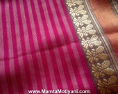 Pink Saree Fabric, Sari Fabric, Ethnic Print Fabric, Indian Cotton Fabric, Indian Fabrics, Sari Fabric By The Yard, Border Print Fabric