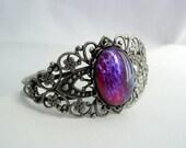 Dragon's Breath Mexican Fire Opal Filigree Cuff Bracelet Antique Silver Platinum Finish