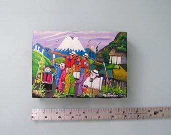 Vintage Naive Tigua Equador Folk Art Painting on Animal Hide signed Rodrigo Cuyo, Folk Art Decor Colorful Originals Fiesta de los Tres Reyes