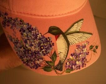 Women's Visor Pink Hand Painted Hummingbird lilacs