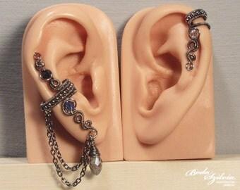 Crystal EAR CUFF SET - wire wrapped ear cuff, adjustable ear cuff, no piercing ear cuff, silver & blue ear cuff, elegant jewelry, ear wrap