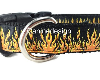 Dog Collar, Flames Black, 1 inch wide, adjustable, quick release buckle, metal buckle, chain, martingale, hybrid, heavy nylon, red, yellow