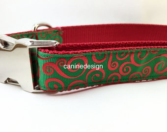 Christmas Dog Collar, Swirl on Green, 1 inch wide, adjustable, quick release, metal buckle, chain, martingale, hybrid, nylon
