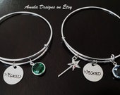 Wicked Musical Necklaces Elphaba and Galinda Bad Witch Good Witch Wicked Handstamped Set of Bangles Bracelets Wicked the Musical inspired