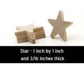 Unfinished Wood Star - 1 inch by 1 inch and 3/16 inch thick wooden shape (WW-JC4618)