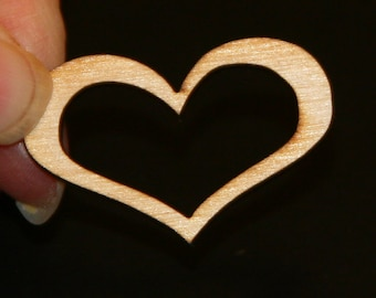 Unfinished Wood Heart Open - 1-1/2 wide by 1 inch tall 1/8 inch thick wooden shape (HART14)
