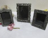 Pewter Picture Frames Set of 3 Miniature Frames