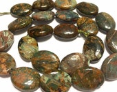 "Green and brown opal oval beads whole 15"" strand"