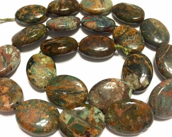 """Green and brown opal oval beads whole 15"""" strand"""
