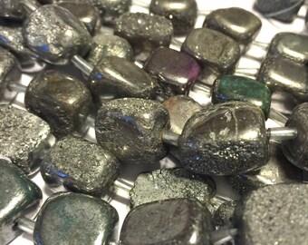 14mm Druzy type nugget beads silver titanium coated half strand