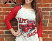 Happy Trails burnout raglan with Vintage Truck and Red Lace Sleeves