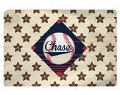 Personalized Baseball Stars Stripes & Diamond Plush Fuzzy Area Rug - Cream, red and navy colors, Size 48x30, 60x48, 96x44, 96x60