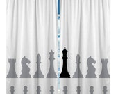 Custom  Window Curtain, Love CHESS! on White Background,  Any Size - Any Colors available
