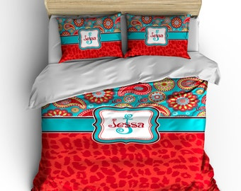Personalized Custom  Paisley and Red Cheetah Bedding - Available Toddler Twin, Queen, King size and Duvet Cover and Comforter Options