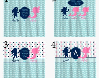 Pirate & Mermaid Shared Shower Curtain -Hot Pink, Navy, Sea Blue and White Combination - Novelty Saying - 4 Options