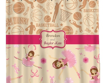 Personalized Shower Curtains - Basketball players and Ballerinas