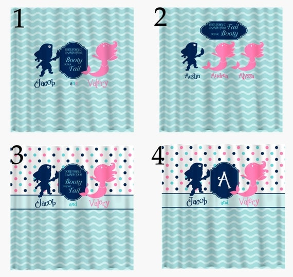Pirate & Mermaid d Shower Curtain Hot Pink Navy Sea