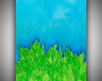 "Hand-Painted Original Acrylic on Canvas Green Trees Blue Sky Abstract Painting by Robin Winningham 24"" x 18"""
