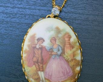 Vintage Romance-Couple in Garden Necklace