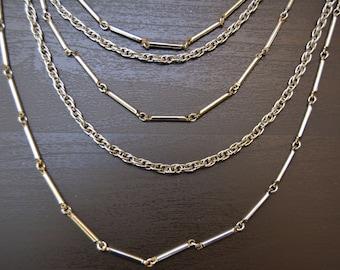 Vintage Geometric Silver Tone Multi-Strand Chain Necklace